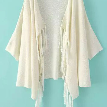 Beige Short Sleeve Tassel Trim Front Knit Cardigan
