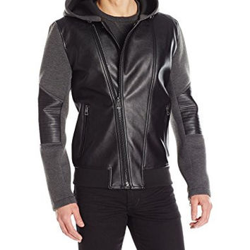 GUESS Men's Mix Media Hooded Jacket, Dark Charcoal, Large