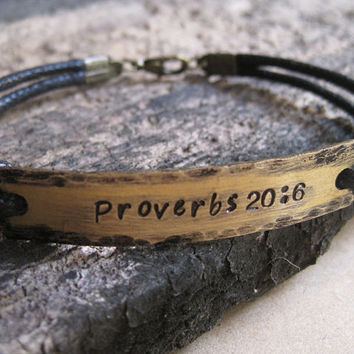 Proverbs 20:6 bracelet, Quote Bracelet Gold, Customized bracelet, hammered hand stamped bracelet, personalized bracelet, Engraved Bracelet