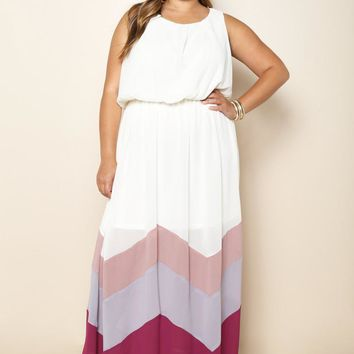 Chevron Ivory Plus Size Maxi Dress