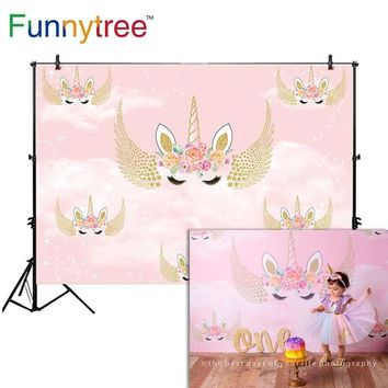 Funnytree background for photography unicorn angel wing birthday party pink flower sky decor backdrop photo studio photocall new