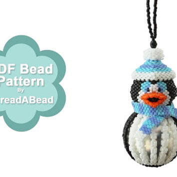 Bead Pattern: Brrr The Penguin Christmas Beaded Bauble Ornament