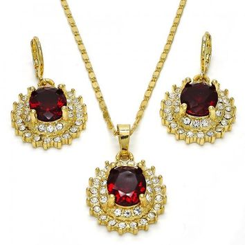 Gold Layered Necklace and Earring, with Cubic Zirconia and Crystal, Golden Tone