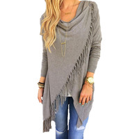 Cardigan Feminino Cotton Ponchos Tassel Single Button Cardigans Sweater Women Blusas De Inverno Feminina Loose Women Coat C25C35