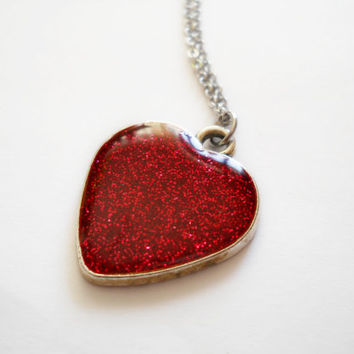 Red heart necklace, surgical steel chain, red glitter resin heart, glitter in resin, silver heart, engagement gift, Valetine day, marriage