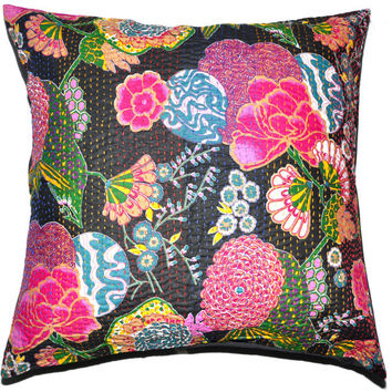 24x24 Indian Kantha Pillow Cover, Kantha throw Pillow cushion Cover, Kantha Thread Floral Cotton Cushion Pillow Covers Ethnic Decorative Art