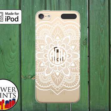 White Monogram Henna Floral Line Art Cute Tumblr Custom Clear Case For iPod Touch 5th Generation and iPod Touch 6th Generation iPod 5 iPod 6