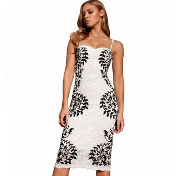 Summer Party Cocktail Printed Lace Pencil Midi Dress