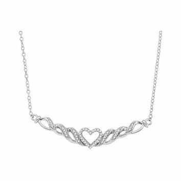 10kt White Gold Women's Round Diamond Heart Pendant Necklace 1-6 Cttw - FREE Shipping (US/CAN)
