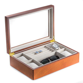 Cherry Black Wood Valet and Watch Box