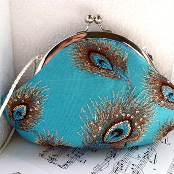 Small framed peacock clutch purse wristlet, turquoise silk clutch with peacock feather lace overlay, personalized clutch,