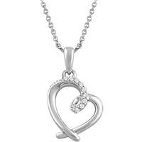 """Sterling Silver .05 CTW Diamond Heart 18"""" Necklace"""