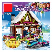 01040 514Pcs The House Building Blocks Toys Snow Resort Chalet Kids Bricks Toys Fro Girl Gifts Compatible Legoing Friends 41323