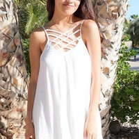 Play On Curves Crisscross White Shift Dress