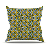 "Alison Soupcoff ""Sunflower"" Blue Yellow Throw Pillow"