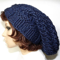 Hand Knit Hat- Watch Cap Spiral Slouch- Navy Blue