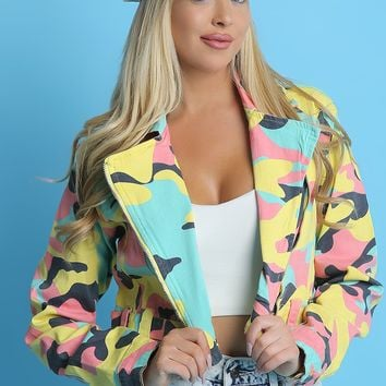 Camo Crop Jacket For Women Pastel Camo Crop Jacket | Camouflage Print Design Crop Jacket For Evening Dresses