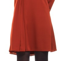 Silk Georgette Long Sleeved V-Neck Dress | Max Studio Official by Leon Max | MaxStudio.com