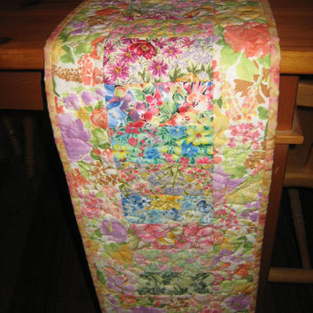 Quilted Table Runner Shabby Chic Cottage Charm