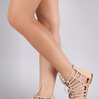 Bamboo Nubuck Strappy Caged Lace-Up Flat Sandal