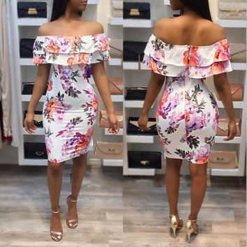 Streetstyle  Casual White Floral Bandeau Ruffle Zipper Backless Off Shoulder Party Bodycon Mini Dress