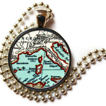 Mediterranean Story Jewelry necklace charm, Ports of Call, Barcelona, Marseille, Rome, Naples, Venice