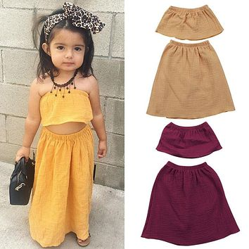 2018 Toddler Baby Kid Girls Outfit Tops Off Shoulder Blouse Skirt Party Pageant Boho Dress Solid Set Clothes