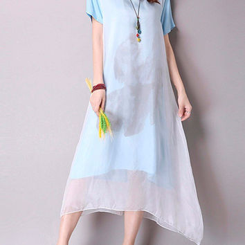 Vintage Chinese Style Silk Ink Printed Cotton Linen Two Layers Dress For Women