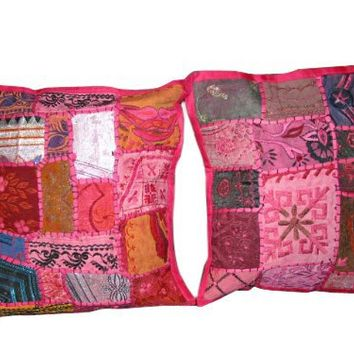"""2 Indian Pillow Shams Cushion Cover Bittersweet Pink Patch Work Embroidered Sari Toss Pillow Throw 16""""   Mogul Interior"""