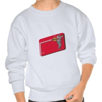 Donkey Mascot Serve Burger Rectangle Retro Pullover Sweatshirt