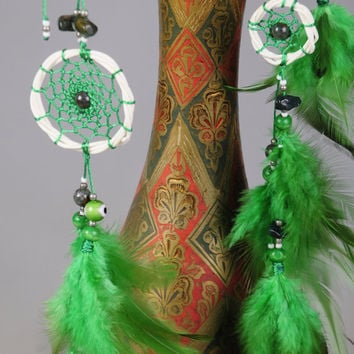 Green hair clips pendants handmade exclusive Dreamcatcher hair clips pendants Green DreamCatcher Dreamcatchers Christmas green hair clips