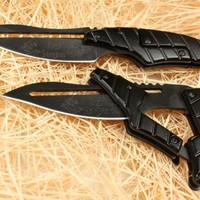 Alien Robot Tactical Liner Lock Pocket Folding Knife Survival Hunting, Black, Come with Sheath