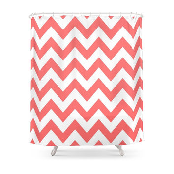 Society6 Chevron Coral Shower Curtain