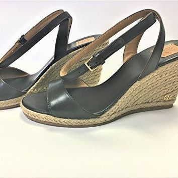 Tory Burch 40022 Landon Wedge Espadrille Ankle Strap Sandal -Black, Size 7