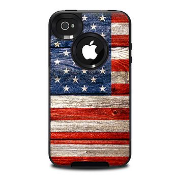 The Wooden Grungy American Flag Skin for the iPhone 4-4s OtterBox Commuter Case