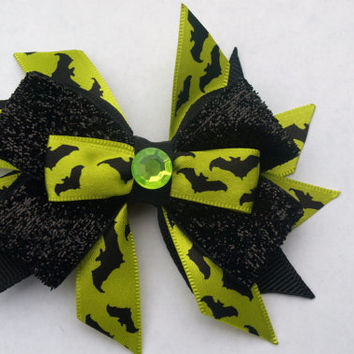 lime green and black bat hair bow- halloween hair clip- sparkly hair accessory