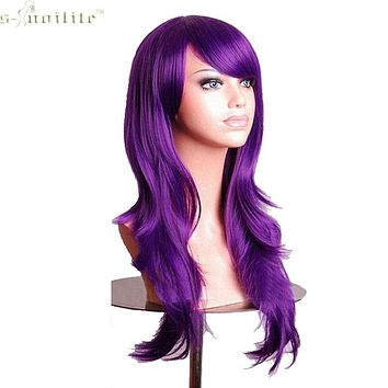 "SNOILITE 23"" Full Cosplay Wig Hallowee Christmas Women Wig Synthetic Hair Long Curly Purple Soft & Thick Natural Black Blonde"