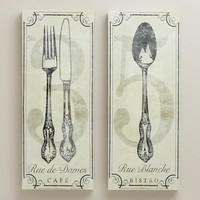 Vintage-Style French Bistro Wall Art, Set of 2 - World Market