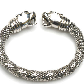 Sterling silver cat  Cuff Bracelet - two  cat heads  - sterling silver Italy silver mesh flex bracelet    Bangle lion tiger heads