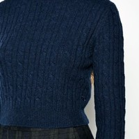 HEROSEN CROPPED CABLE ROLL NECK JUMPER