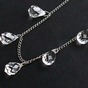 SALE - Vintage Crystal Necklace - Silver Tone Clear Glass Faceted Teardrop Bead Costume Jewelry / Glass Drops