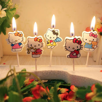 5 pcs/set.Kawaii Cartoon Kid's Birthday Cake/Cupcake Toppers Party Birthday Candle.Creative Birthday Cake Candles.Party Supplies