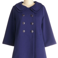 Darling Vintage Inspired Mid-length 3 Double Breasted Poppy-Go-Lucky Coat in Blue