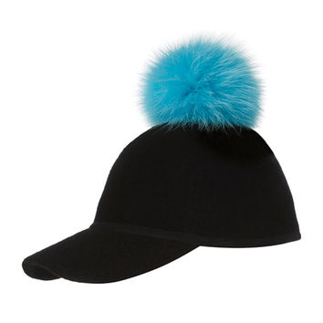 Charlotte Simone Sass Single-Pom Wool Felt Baseball Cap, Blue/Black
