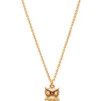 FOREVER 21 Owl Pendant Necklace Gold/Clear One