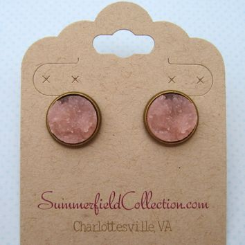 Antiqued Gold-Tone Stud Earrings 12mm Pink Faux Druzy Stone