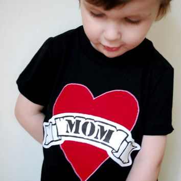 Mom Black Tattoo Heart Mother's Day Fathers Day Heart Dad LOVE for Father this T Shirt is for Father's Day