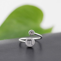 925 Sterling Silver 12 Constellation Ring (Scorpio)