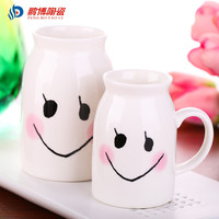 Cute Cartoon Smile Face White Ceramic Milk Mug Cup Office Lovely Girls Coffee Cup Free Shipping