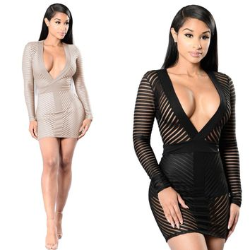 2017 Summer New Women Sexy Dresses Club Wear Deep V Neck Vestido Sexy Bodycon Dress Stripe Mini Party Night Club Dress Black